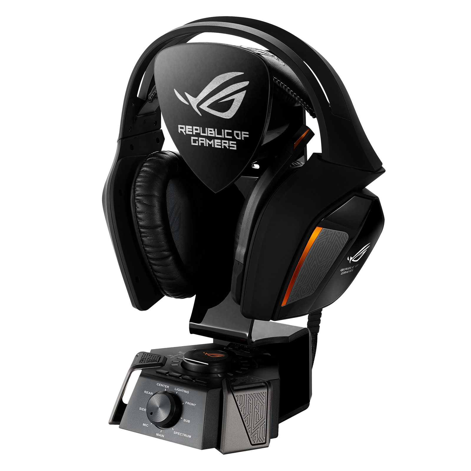 Micro-casque ASUS ROG Republic of Gamers Centurion 7.1 Casque-micro 7.1 filaire à réduction active de bruit pour gamer avec station audio USB (compatible PC / Mac)