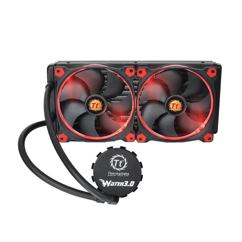 Ventilateur processeur Thermaltake Water 3.0 Riing Red 280 Kit de Watercooling tout-en-un pour processeur avec 2 ventilateurs PWM 140 mm
