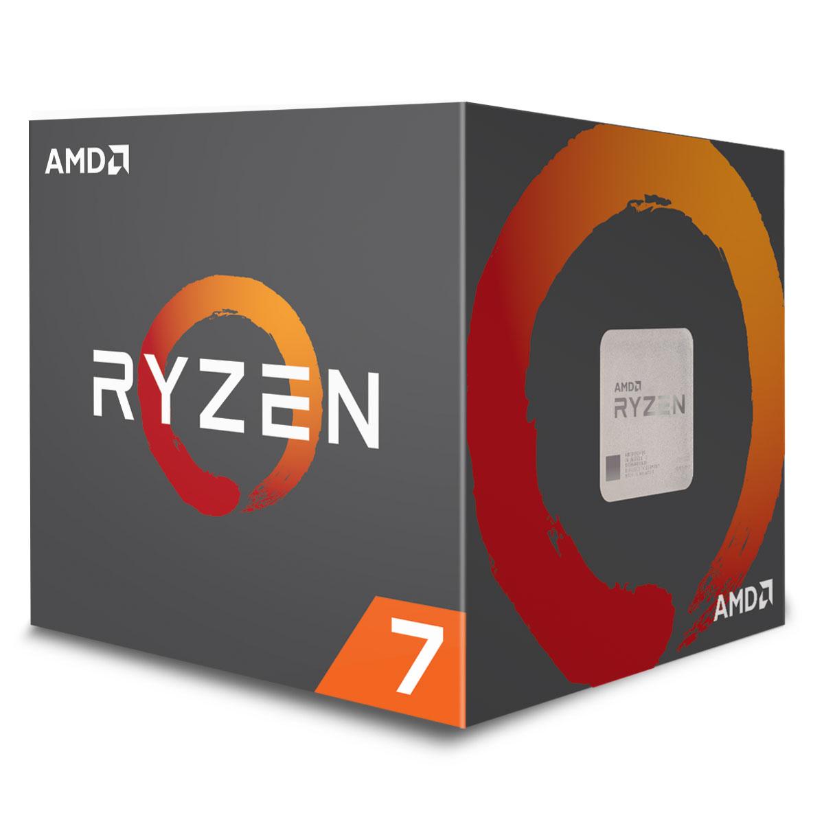 Processeur AMD Ryzen 7 2700 MAX (3.2 GHz) Processeur 8-Core socket AM4 Cache L3 16 Mo 0.012 micron TDP 65W avec système de refroidissement Wraith Max (version boîte - garantie constructeur 3 ans)