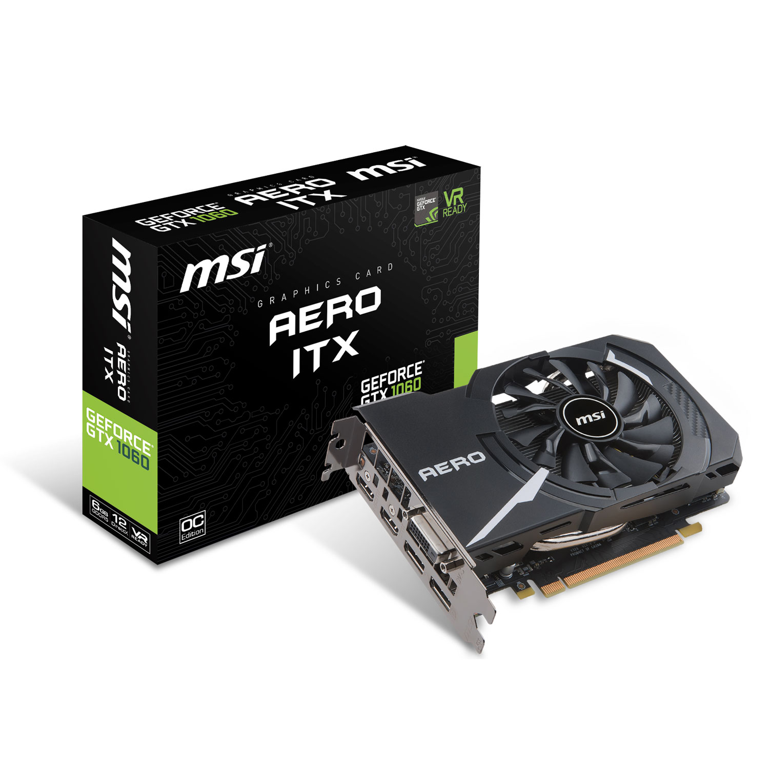Carte graphique MSI GeForce GTX 1060 AERO ITX 6G OC 6144 Mo DVI/Dual HDMI/Dual DisplayPort - PCI Express (NVIDIA GeForce avec CUDA GTX 1060)