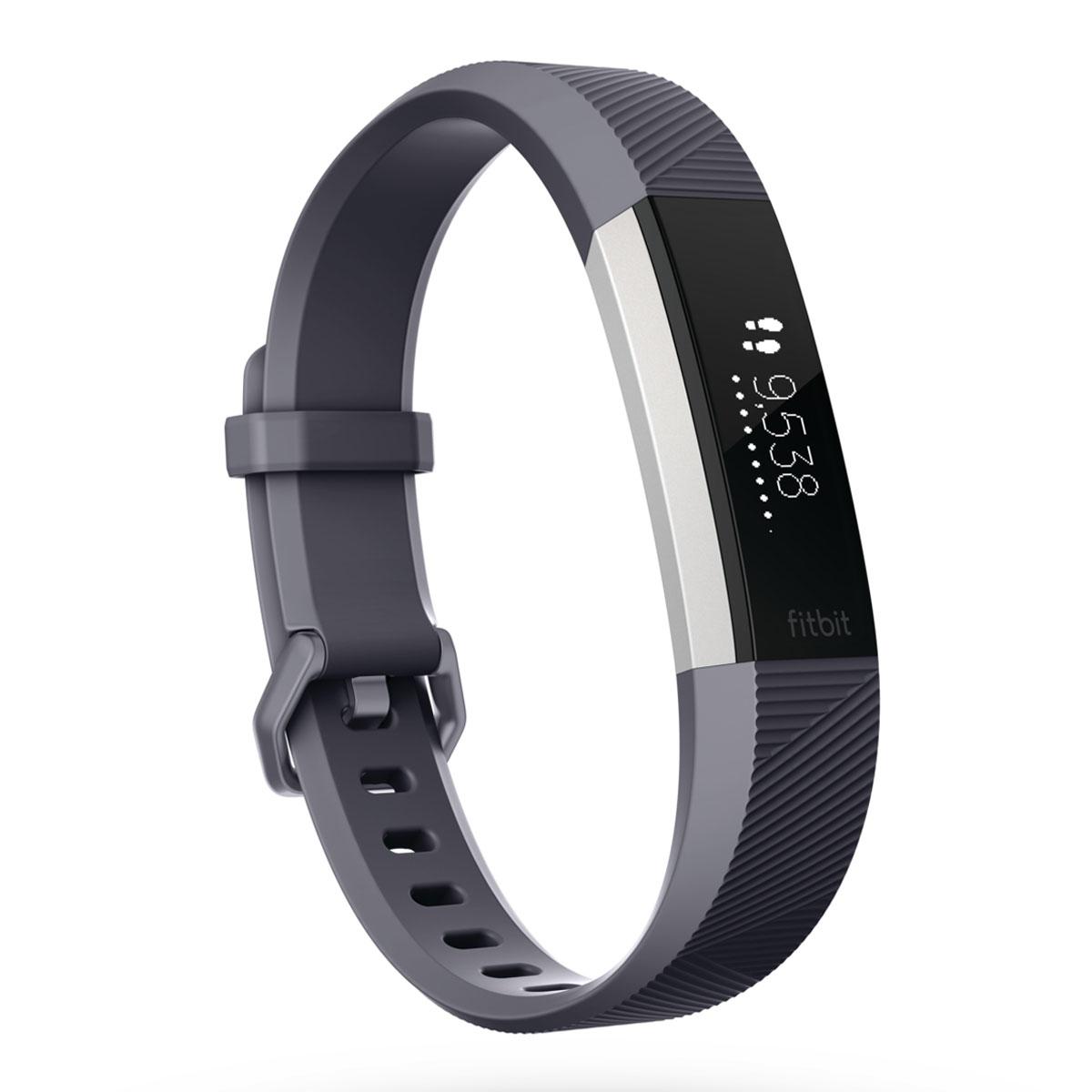 Bracelet connecté Fitbit Alta HR Bleu/Gris L Coach électronique sans fil amovible résistant à l'eau pour smartphone iOS / Android / Windows