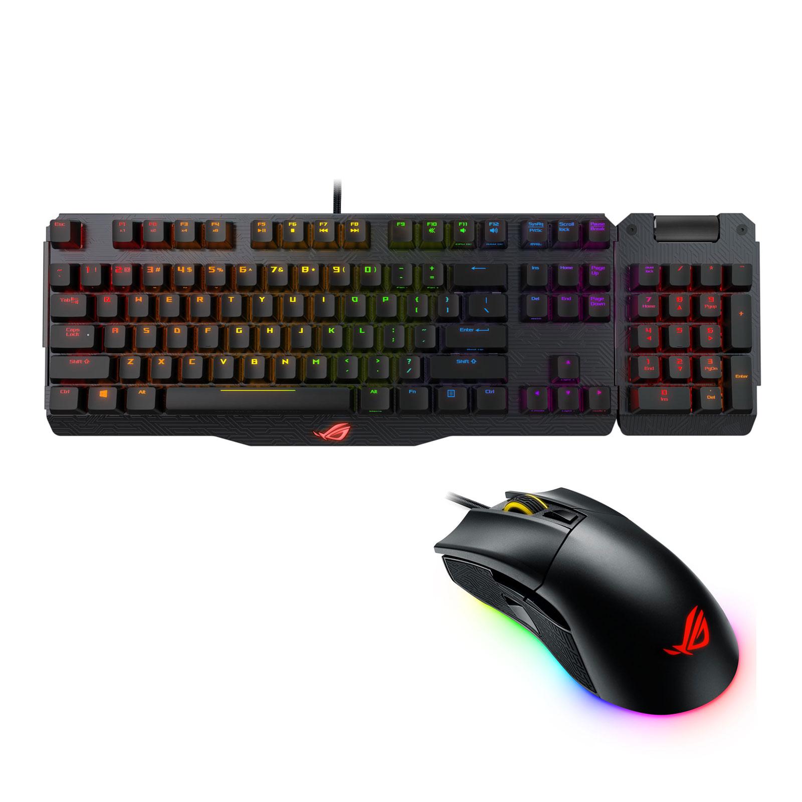 Pack clavier souris ASUS ROG Republic of Gamers Claymore (MX Red) + Gladius II Ensemble pour gamer avec clavier mécanique RGB, pavé numérique amovible et souris optique 12000 dpi 7 boutons RGB