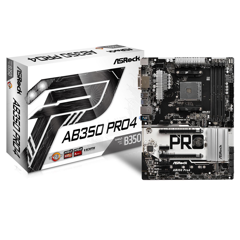 Carte mère ASRock AB350 Pro4 Carte mère ATX Socket AM4 AMD B350 - 4x DDR4 - SATA 6Gb/s + M.2 + Ultra M.2 - USB 3.0 - 2x PCI-Express 3.0 16x