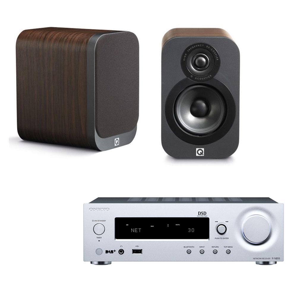 onkyo r n855 argent q acoustics 3010 bois ensemble hifi onkyo sur. Black Bedroom Furniture Sets. Home Design Ideas