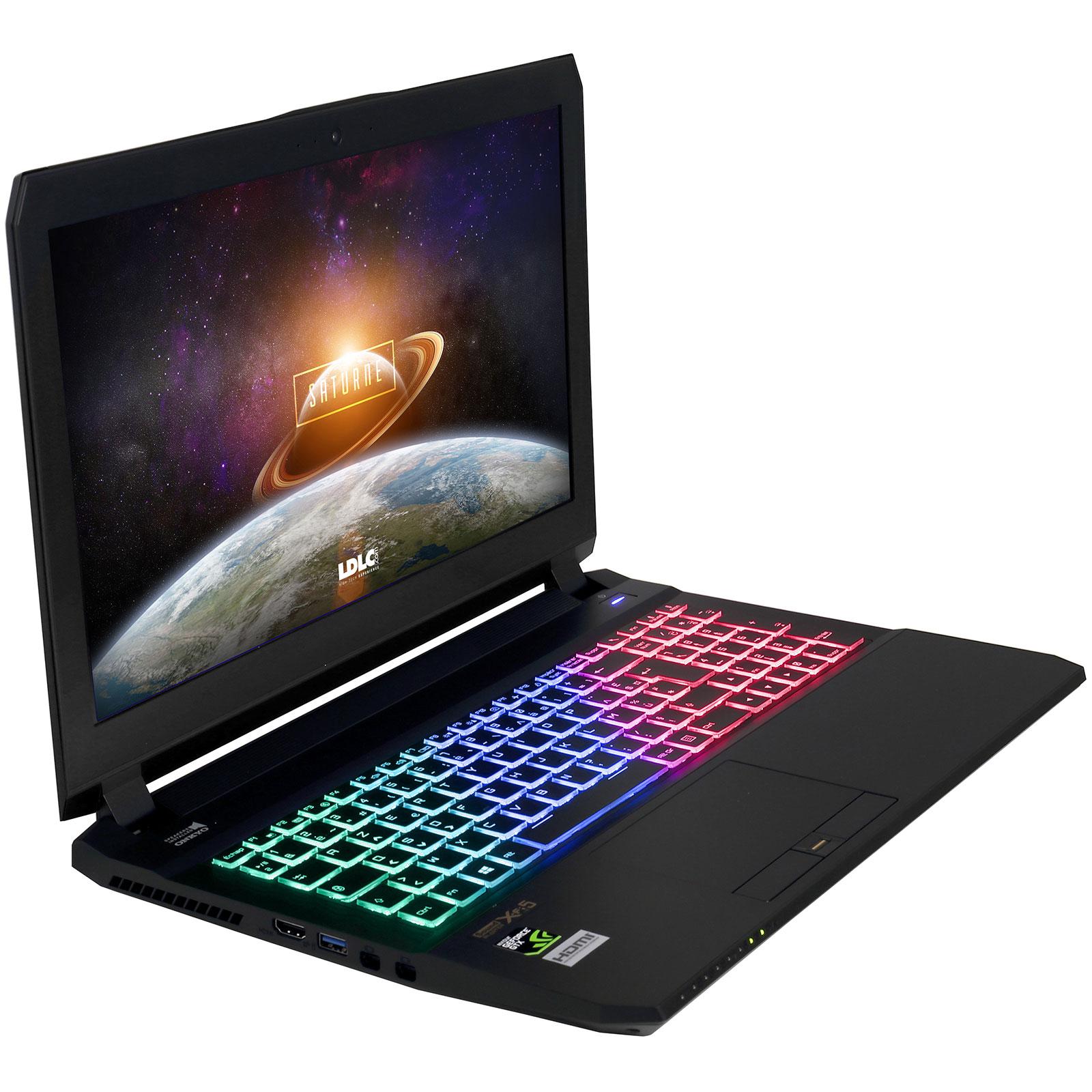 "PC portable LDLC Saturne TK71A-I7-16-H20S5-P10 Intel Core i7-7700HQ 16 Go SSD 525 Go + HDD 2 To 15.6"" LED Full HD NVIDIA GeForce GTX 1070 8 Go Wi-Fi AC/Bluetooth Webcam Windows 10 Professionnel 64 bits"