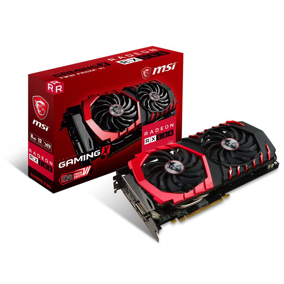 Carte graphique MSI Radeon RX 580 GAMING X 8G 8 Go DVI/Dual HDMI/Dual DisplayPort - PCI Express (AMD Radeon RX 580)
