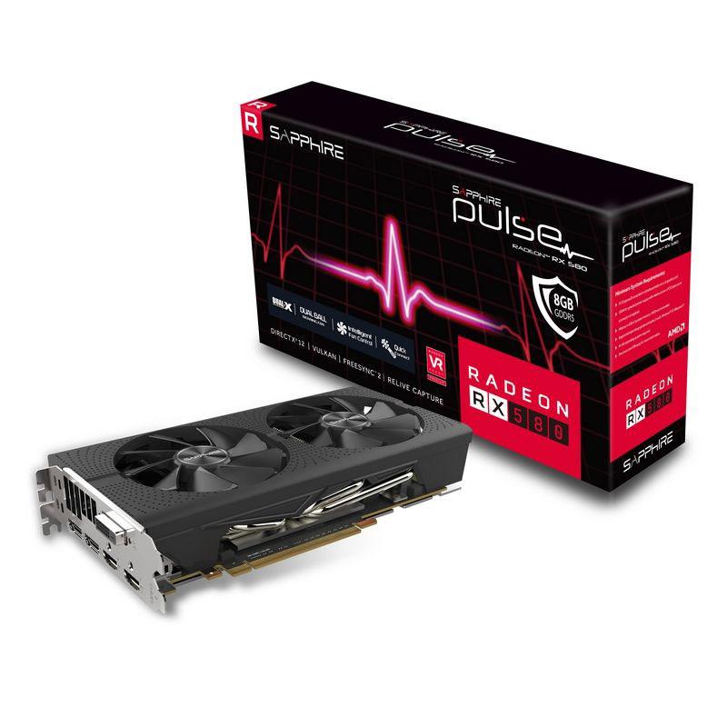 Carte graphique Sapphire PULSE Radeon RX 580 8GD5 8 Go DVI/Dual HDMI/Dual DisplayPort - PCI Express (AMD Radeon RX 580)