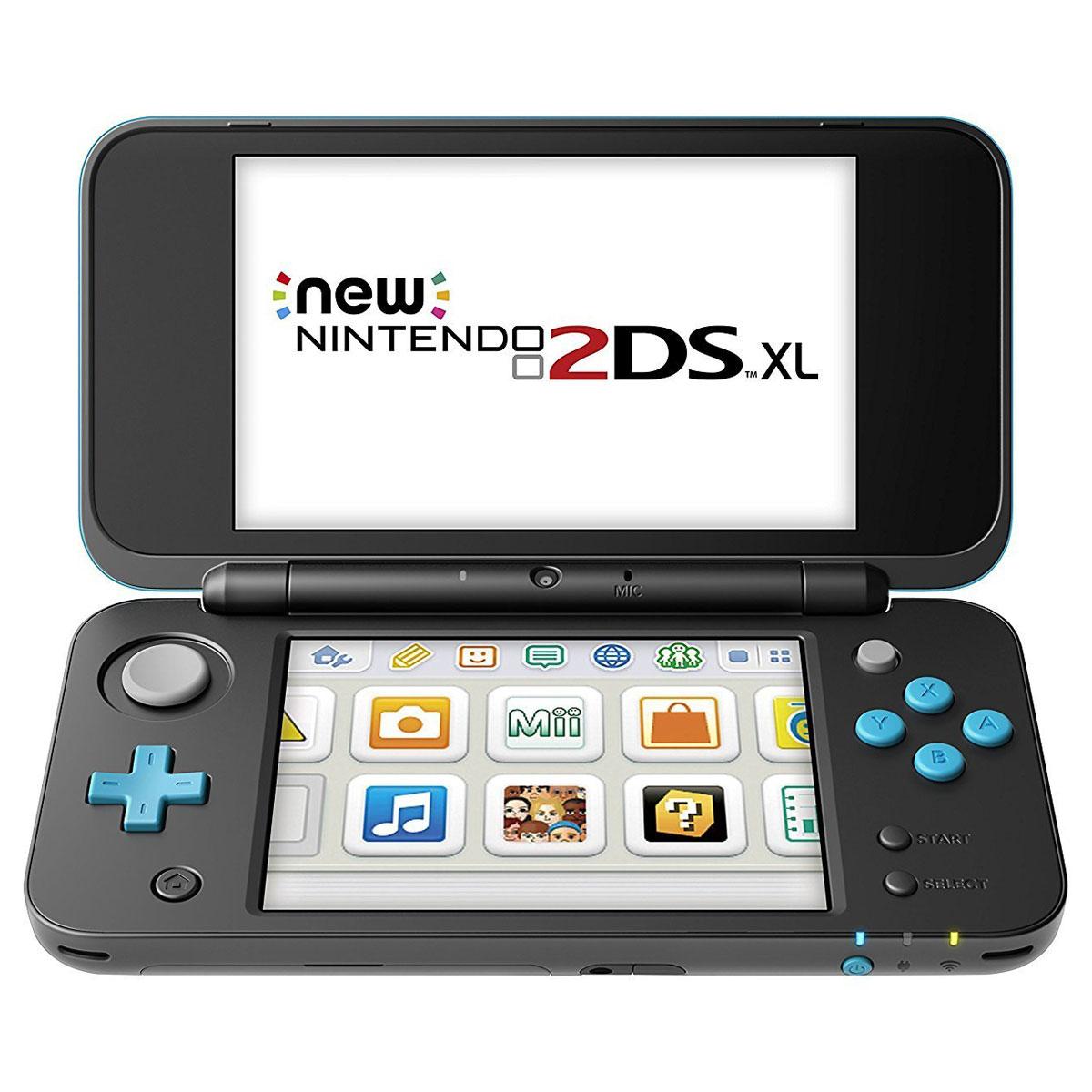 Nintendo new 2ds xl noir turquoise console nintendo for Ecran noir appareil photo 3ds