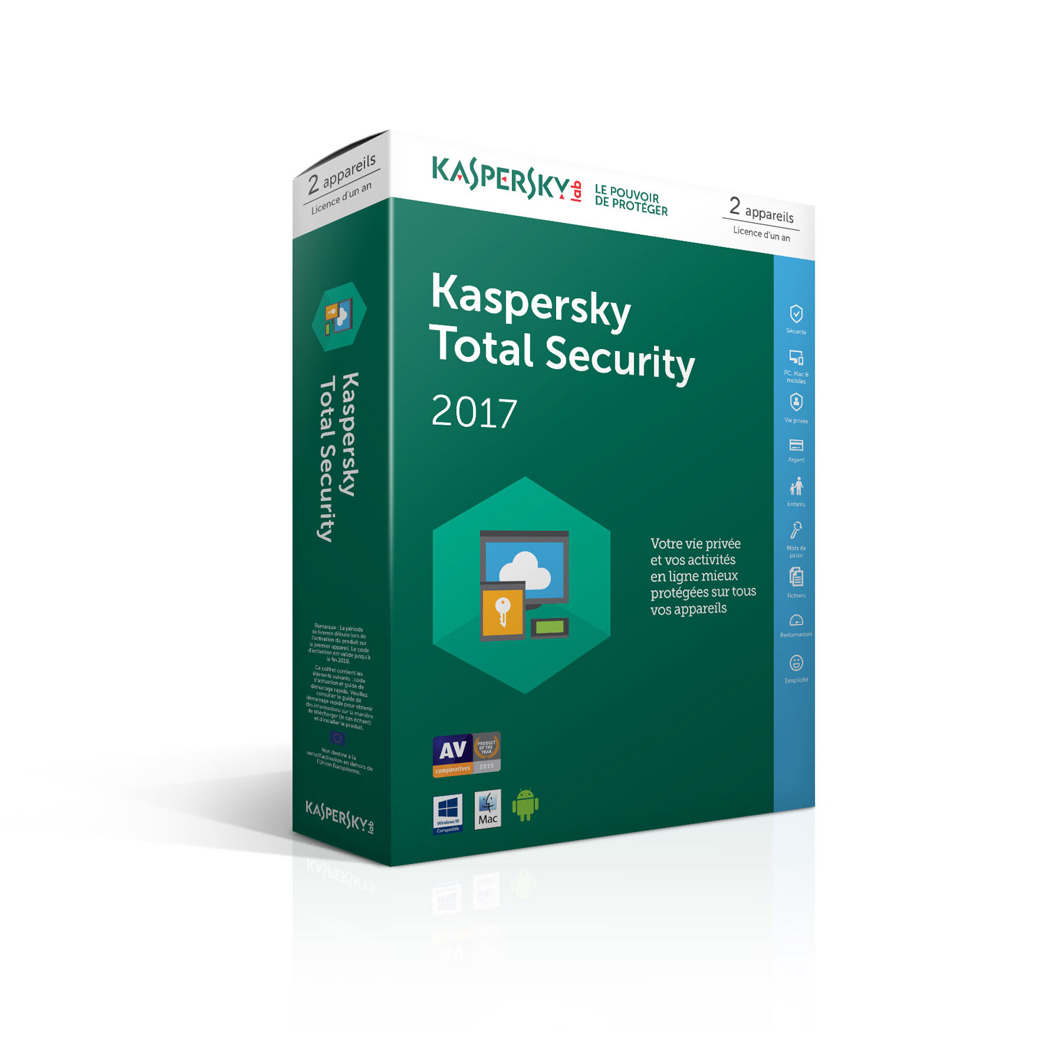Kaspersky Total Security 2017 Licence 2 Postes 1 An