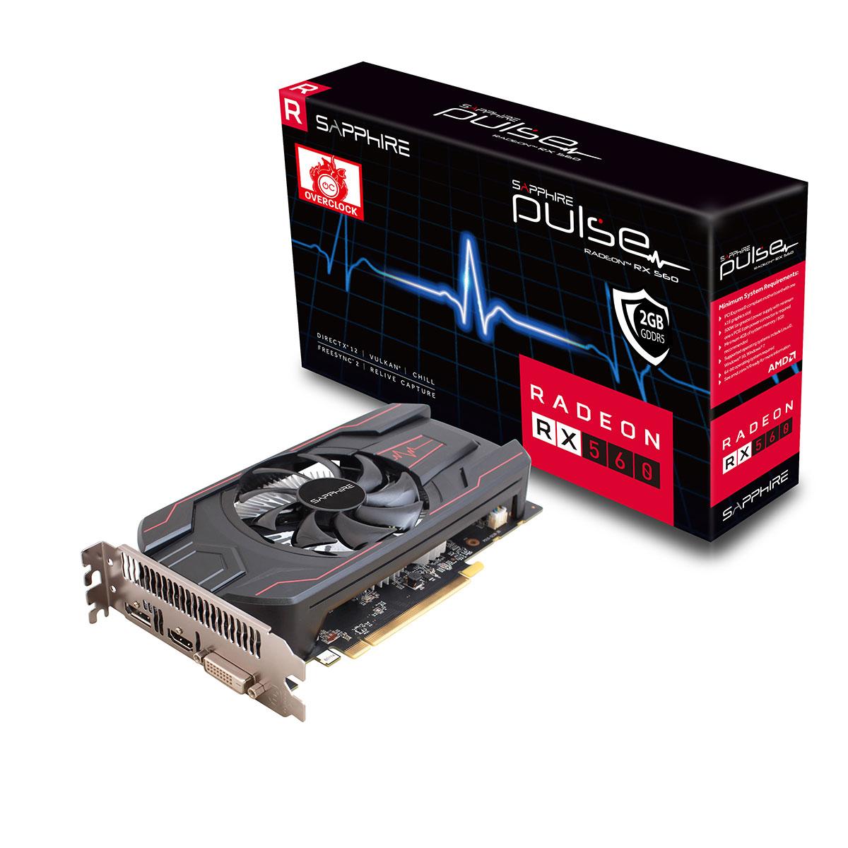 Carte graphique Sapphire PULSE Radeon RX 560 2GD5 OC 2 Go DVI/HDMI/DisplayPort - PCI Express (AMD Radeon RX 560)