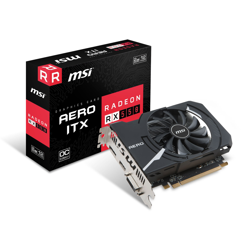 Carte graphique MSI Radeon RX 550 AERO ITX 2G OC 2 Go DVI/HDMI/DisplayPort - PCI Express (AMD Radeon RX 550)
