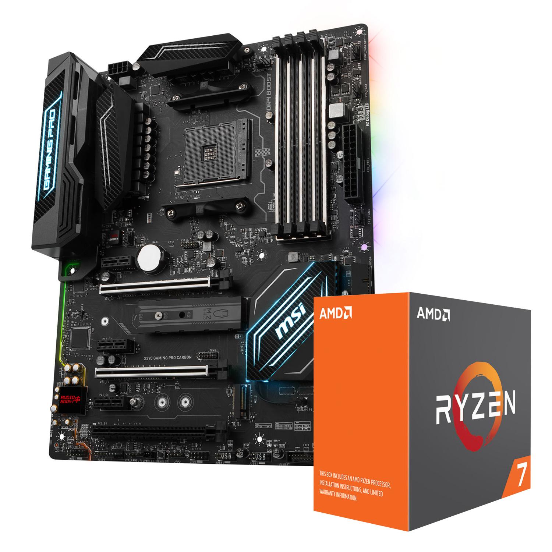 Processeur AMD Ryzen 7 1700X (3.4 GHz) + MSI X370 GAMING PRO CARBON Processeur 8-Core socket AM4 Cache L3 16 Mo 0.014 micron TDP 95W (version boîte/sans ventilateur) + Carte mère ATX Socket AMD AM4 X370