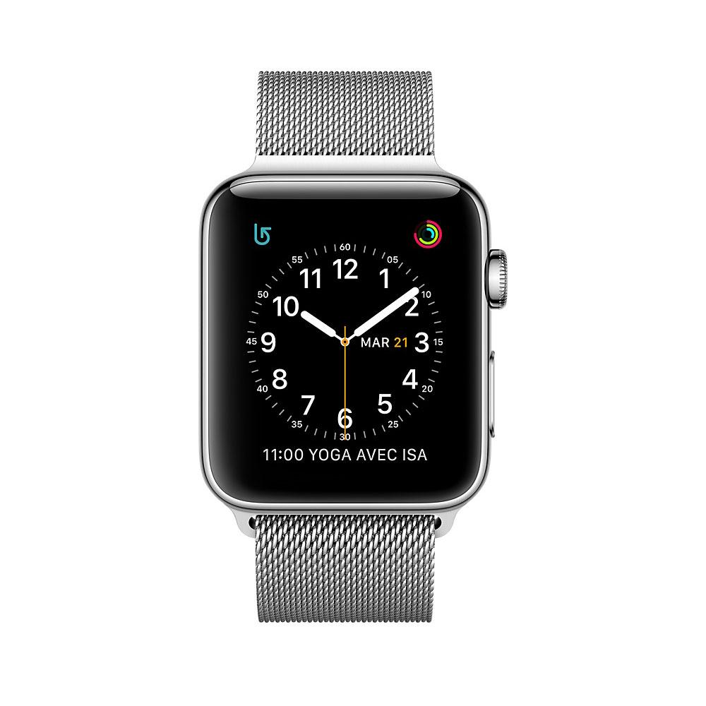 apple watch series 2 acier argent milanais 42 mm montre. Black Bedroom Furniture Sets. Home Design Ideas