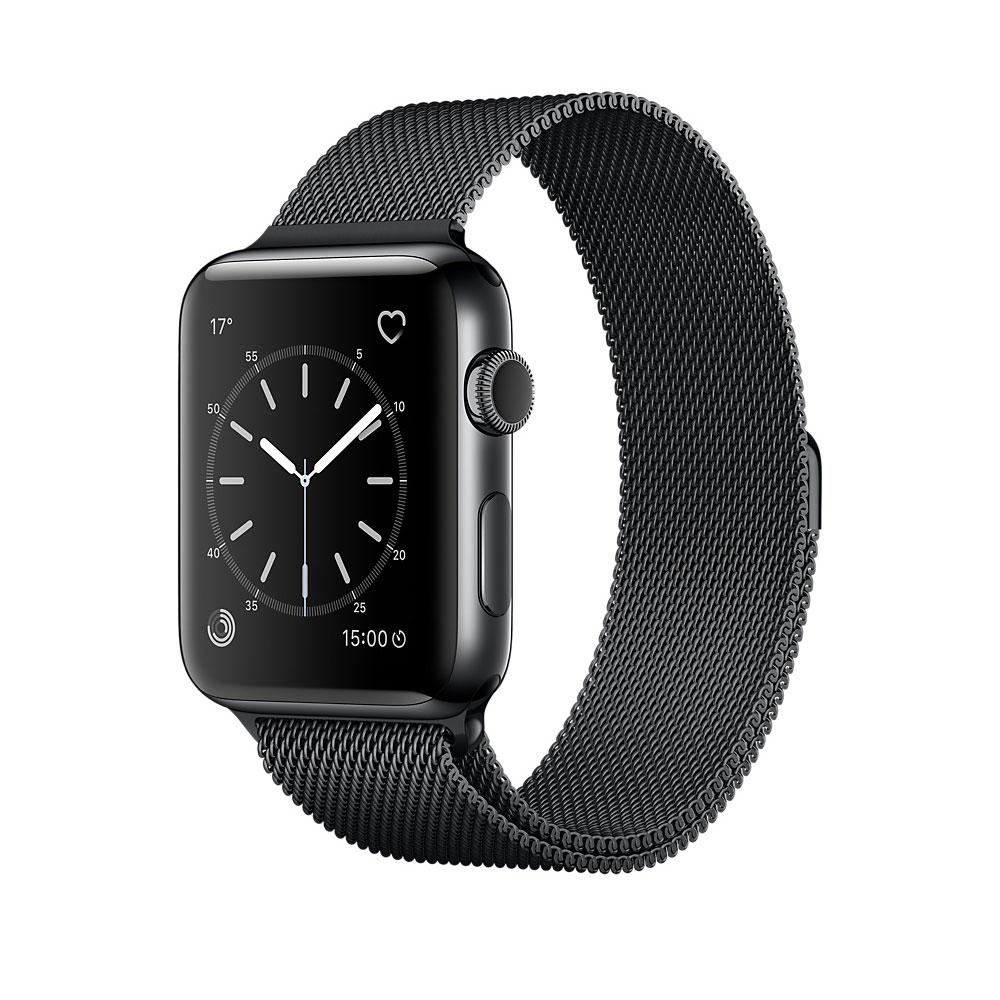 apple watch series 2 acier noir milanais 38 mm montre. Black Bedroom Furniture Sets. Home Design Ideas