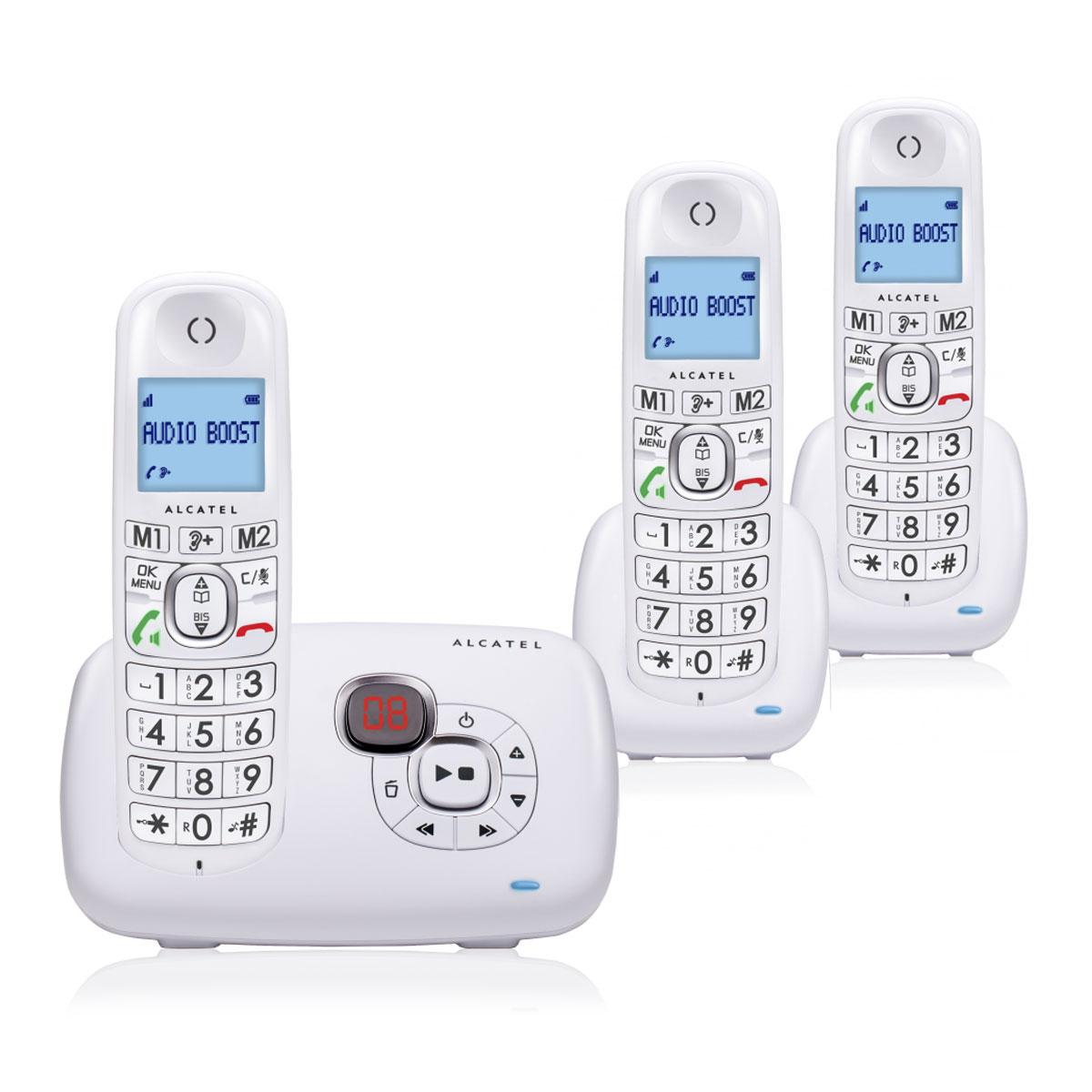 Téléphone sans fil Alcatel XL 385 Voice Trio Blanc Téléphone sans fil avec répondeur et 2 combinés supplémentaires