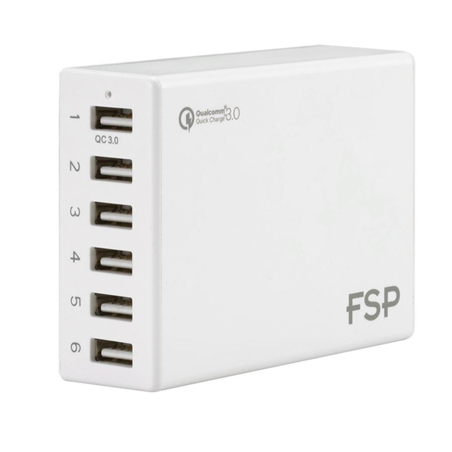 USB FSP Amport 62 Blanc Hub 6 ports USB avec un port USB charge rapide (coloris blanc)