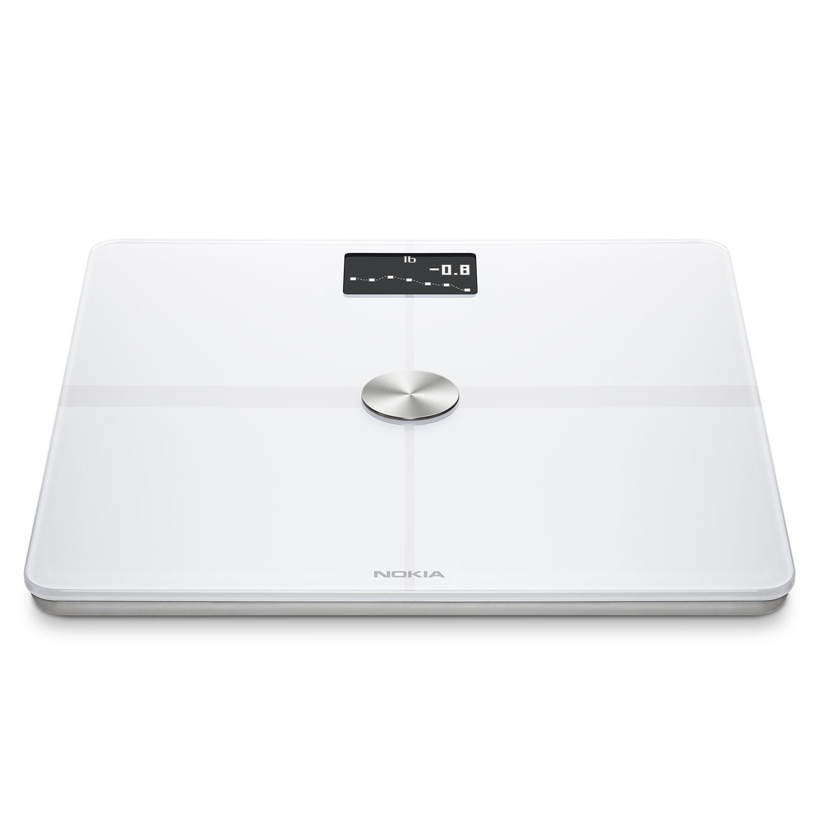 Balance connectée Withings Nokia Body+ Blanc Balance connectée avec composition corporelle, sauvegarde 8 utilisateurs, Bluetooth et Wi-Fi (iOS et Android)