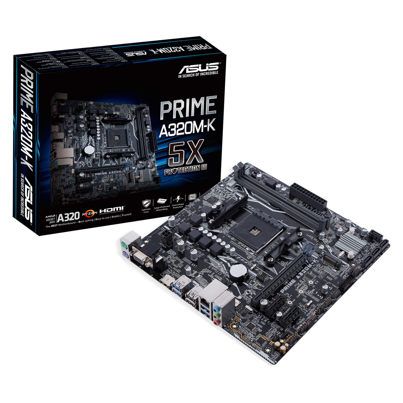 Carte mère ASUS PRIME A320M-K Carte mère Micro ATX Socket AM4 AMD A320 - 2x DDR4 - SATA 6Gb/s + M.2 - 1x PCI-Express 3.0 16x