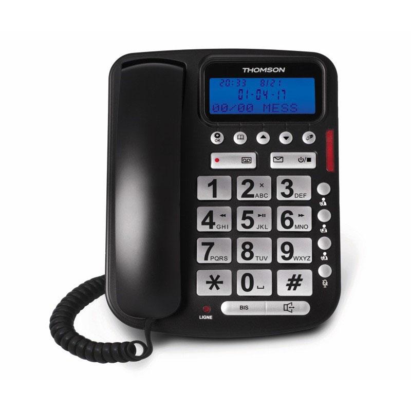 4b53e20ce356c7 Thomson Reply Noir Téléphone filaire avec répondeur, touches larges et  écran rétro-éclairé
