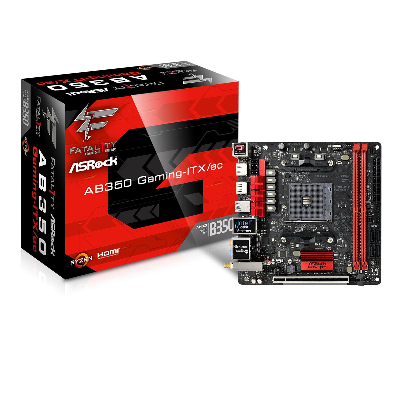 Carte mère ASRock Fatal1ty AB350 Gaming ITX/ac Carte mère mini ITX Socket AM4 AMD B350 - 2x DDR4 - SATA 6Gb/s + U.2 - USB 3.0 - 1x PCI-Express 3.0 16x - Wi-Fi AC/Bluetooth 4.2