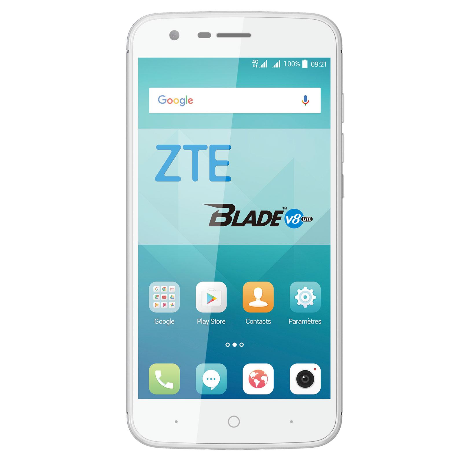 "Mobile & smartphone ZTE Blade V8 Lite Argent Smartphone 4G-LTE Advanced Dual SIM - Mediatek MT6750 8-Core 1.5 GHz - RAM 2 Go - Ecran tactile 5"" 720 x 1280 - 16 Go - Bluetooth 4.1 - 2500 mAh - Android 7.0"