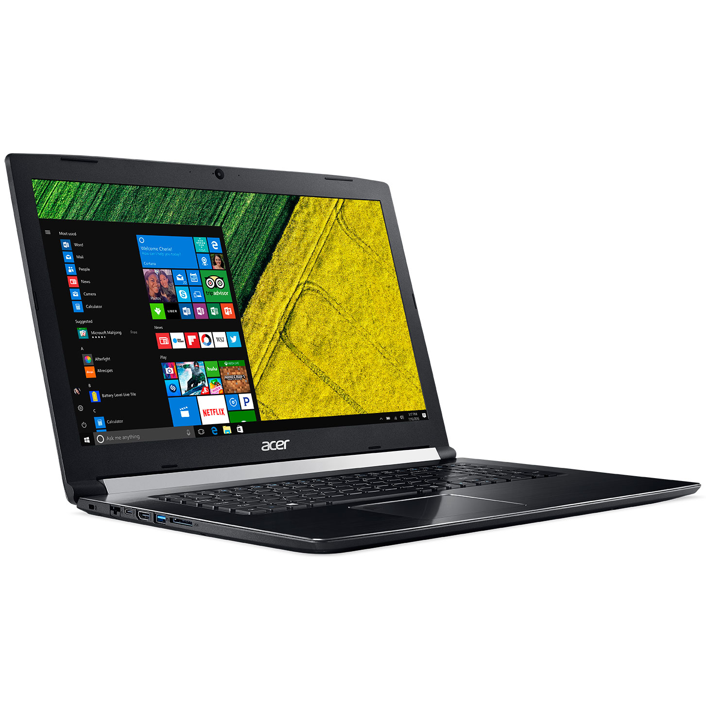 "PC portable Acer Aspire 7 A717-71G-58P6 Noir Intel Core i5-7300HQ 8 Go 1 To 17.3"" LED Full HD NVIDIA GeForce GTX 1050 Ti 4 Go Wi-Fi AC/Bluetooth Webcam Windows 10 Famille 64 bits"