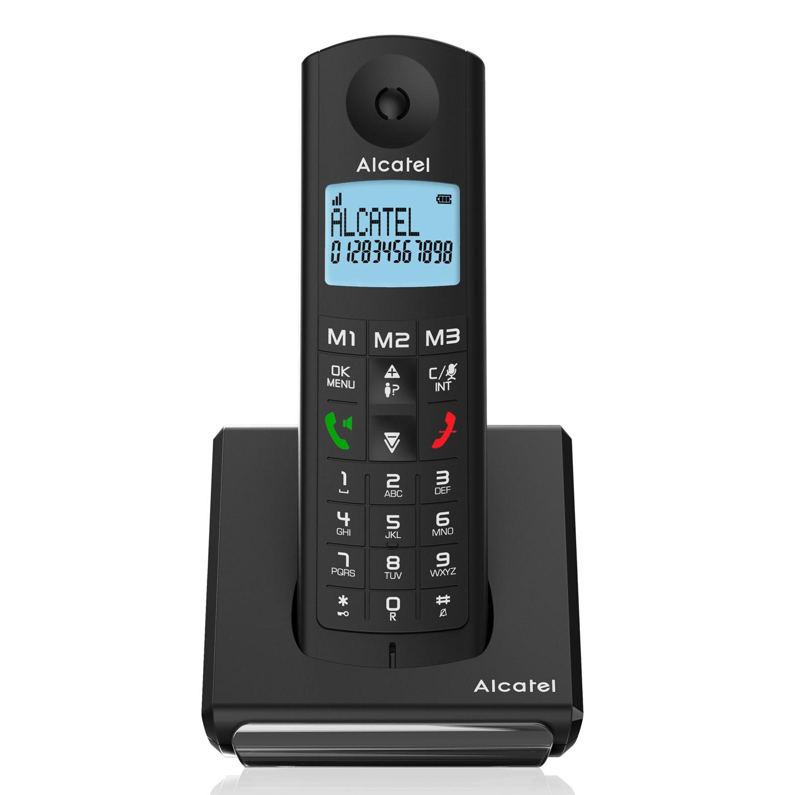 Alcatel f690 voice duo noir t l phone sans fil alcatel for Telephone interieur sans fil