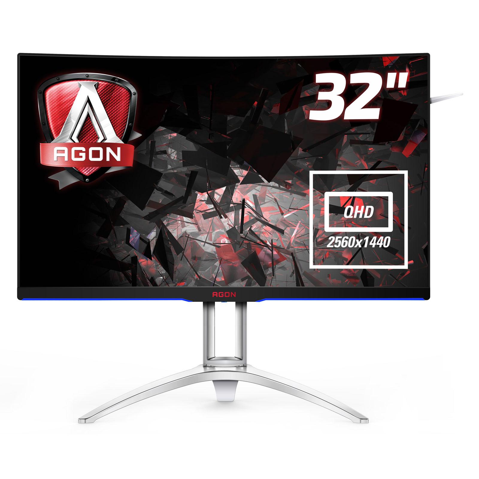 """Ecran PC AOC 31.5"""" LED - AGON AG322QCX 2560 x 1440 pixels - 4 ms (gris à gris) - Format large 16/9 - Dalle MVA incurvée - 144 Hz - DisplayPort - HDMI - Adaptive-Sync - Hub USB 3.0 - Noir/Argent"""