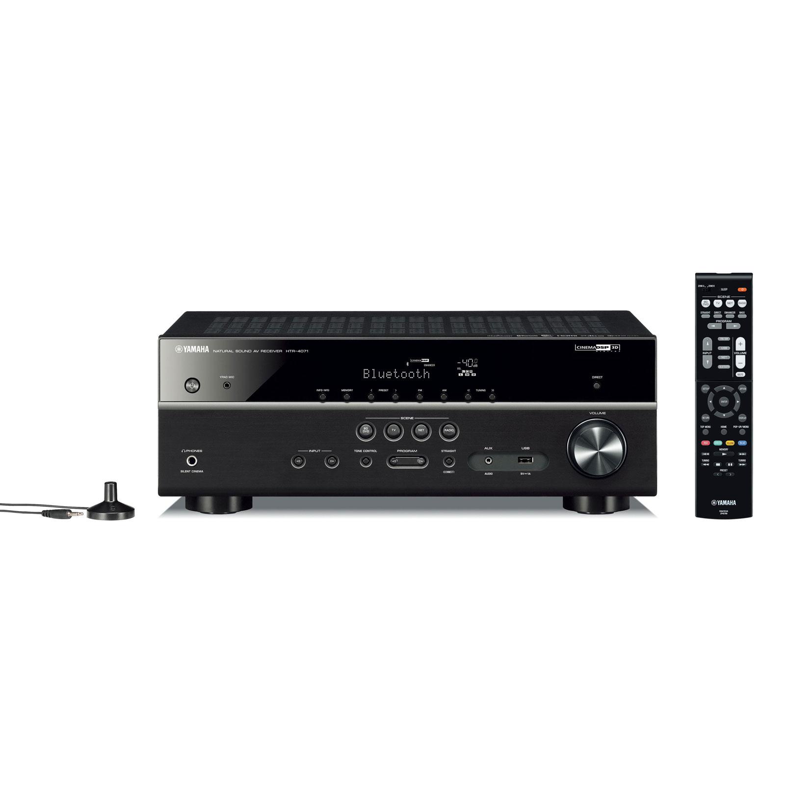 Ampli home cinéma Yamaha HTR-4071 Noir Ampli-tuner Home Cinéma 5.1 3D-Ready avec HDMI 2.0, HDCP 2.2, Ultra HD 4K, Wi-Fi, Bluetooth, DLNA, AirPlay et MusicCast