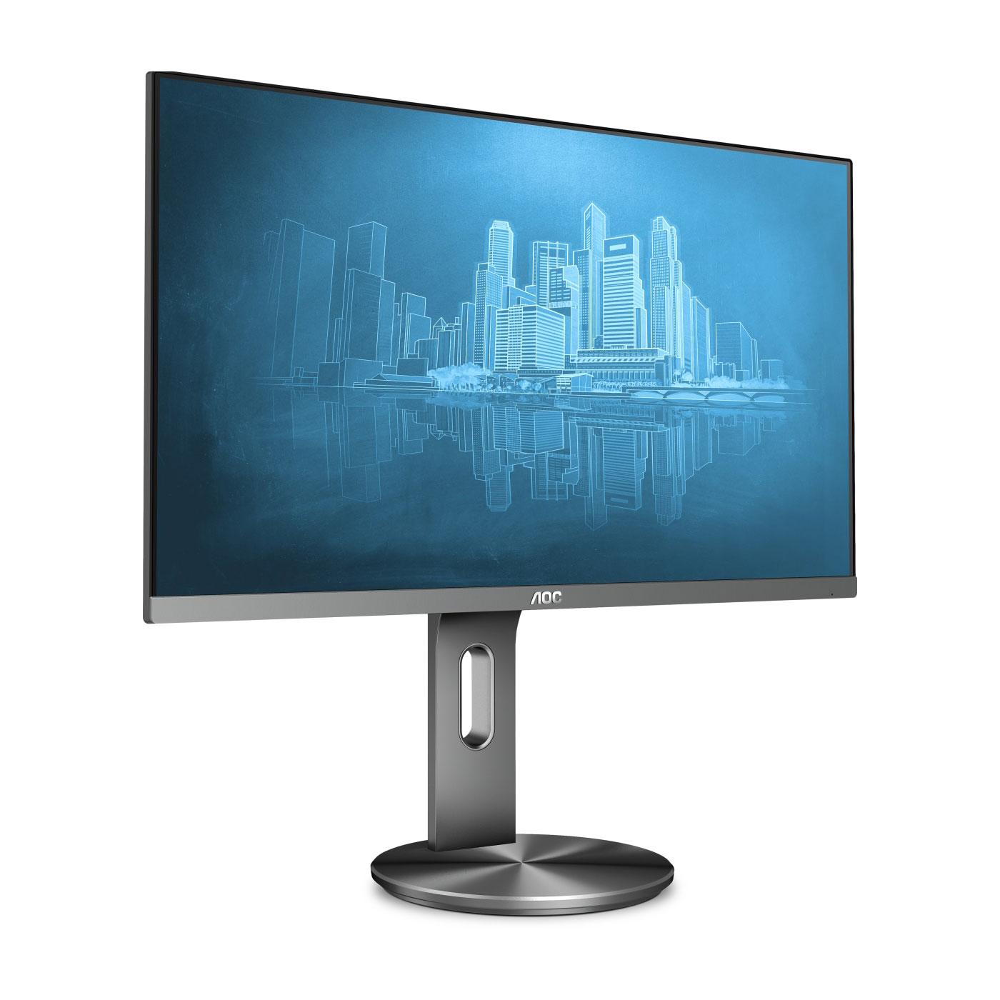 """Ecran PC AOC 23.8"""" LED - i2490PXQU 1920 x 1080 pixels - 4 ms (gris à gris) - Format large 16/9 - Dalle IPS - Pivot - DisplayPort - HDMI - Hub USB 3.0 - Noir/Argent"""