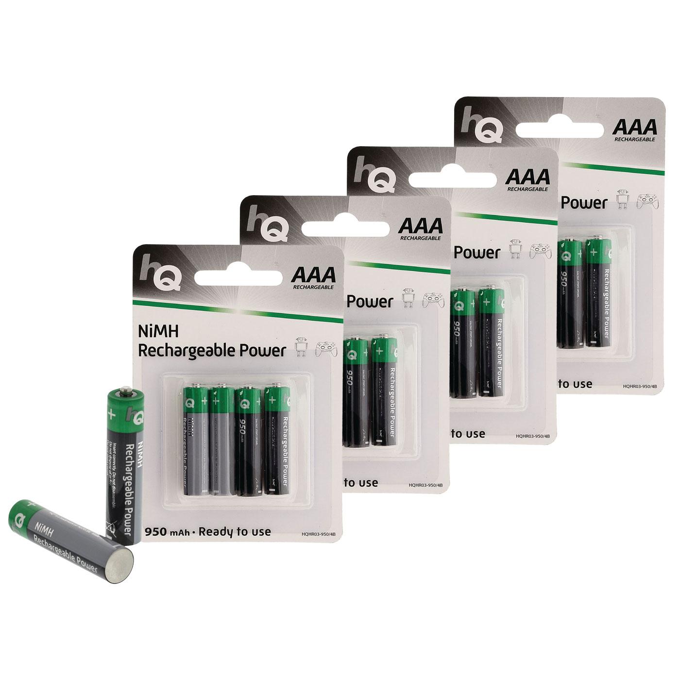 hq rechargeable power aaa 950 mah par 16 pile. Black Bedroom Furniture Sets. Home Design Ideas
