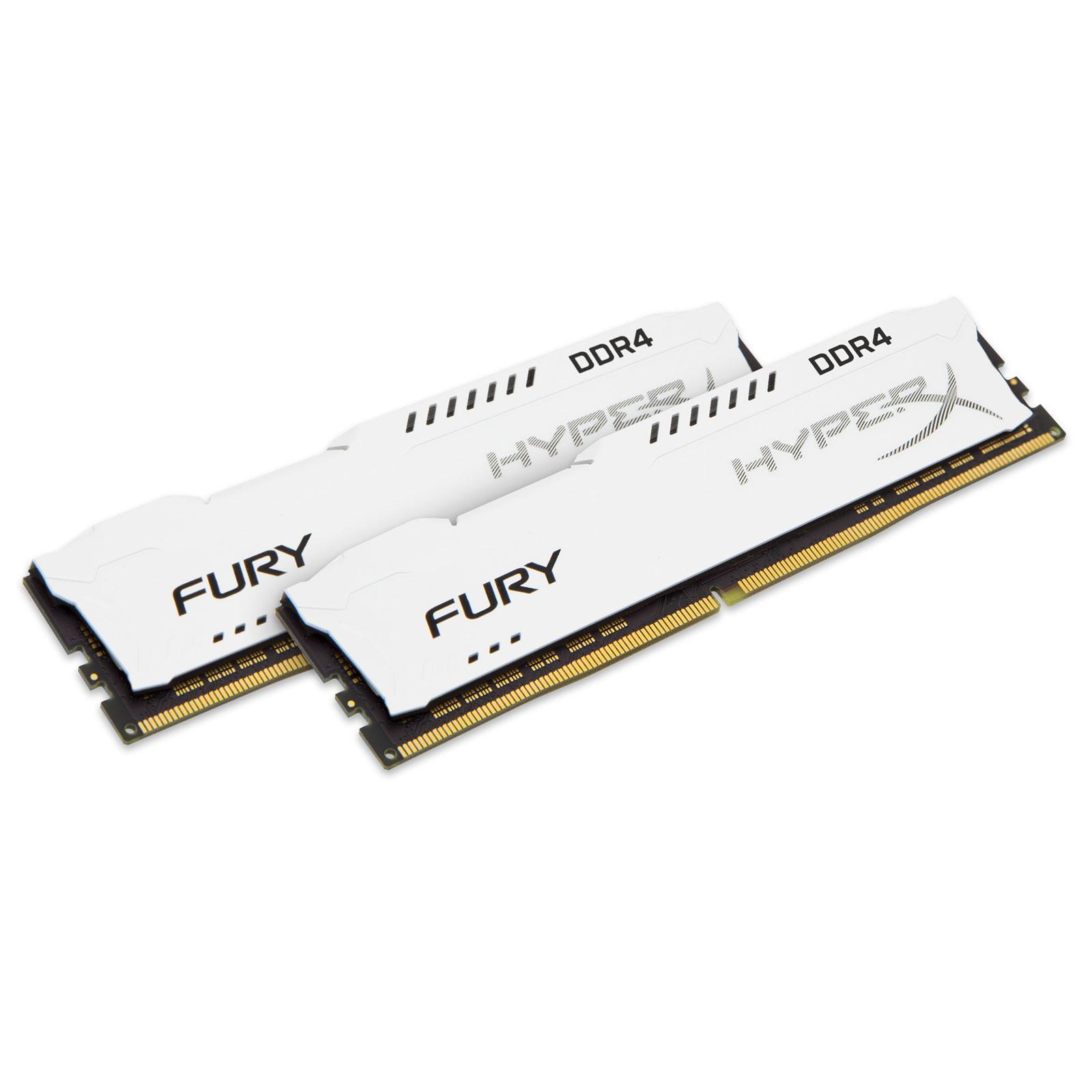 Mémoire PC HyperX Fury Blanc 16 Go (2x 8Go) DDR4 2400 MHz CL15 Kit Dual Channel 2 barrettes de RAM DDR4 PC4-19200 - HX424C15FW2K2/16 (garantie 10 ans par Kingston)