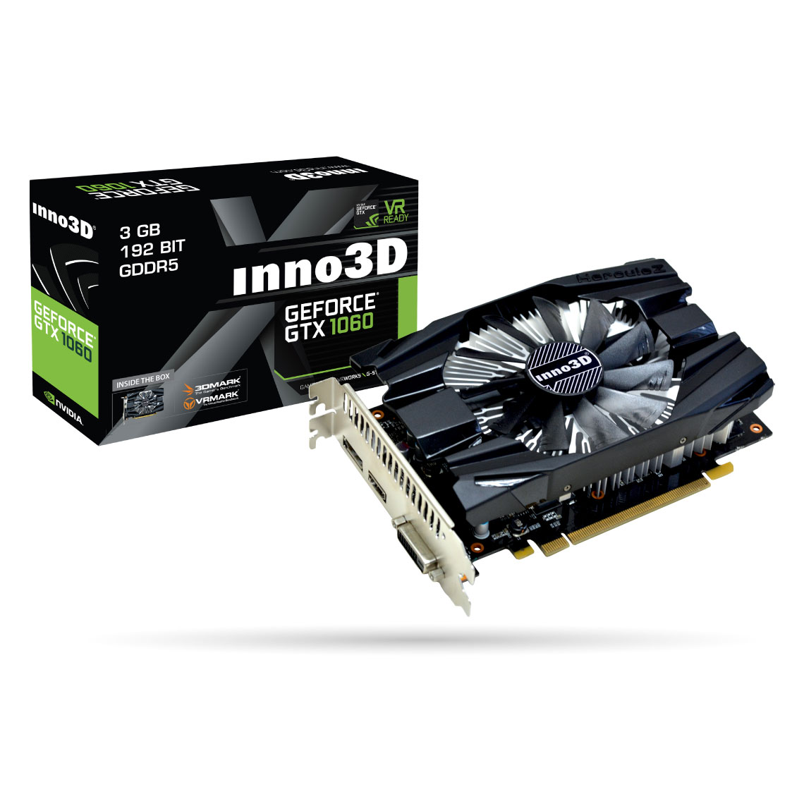 Carte graphique INNO3D GeForce GTX 1060 3GB Compact 3072 Mo DVI/HDMI/DisplayPort - PCI Express (NVIDIA GeForce avec CUDA GTX 1060)