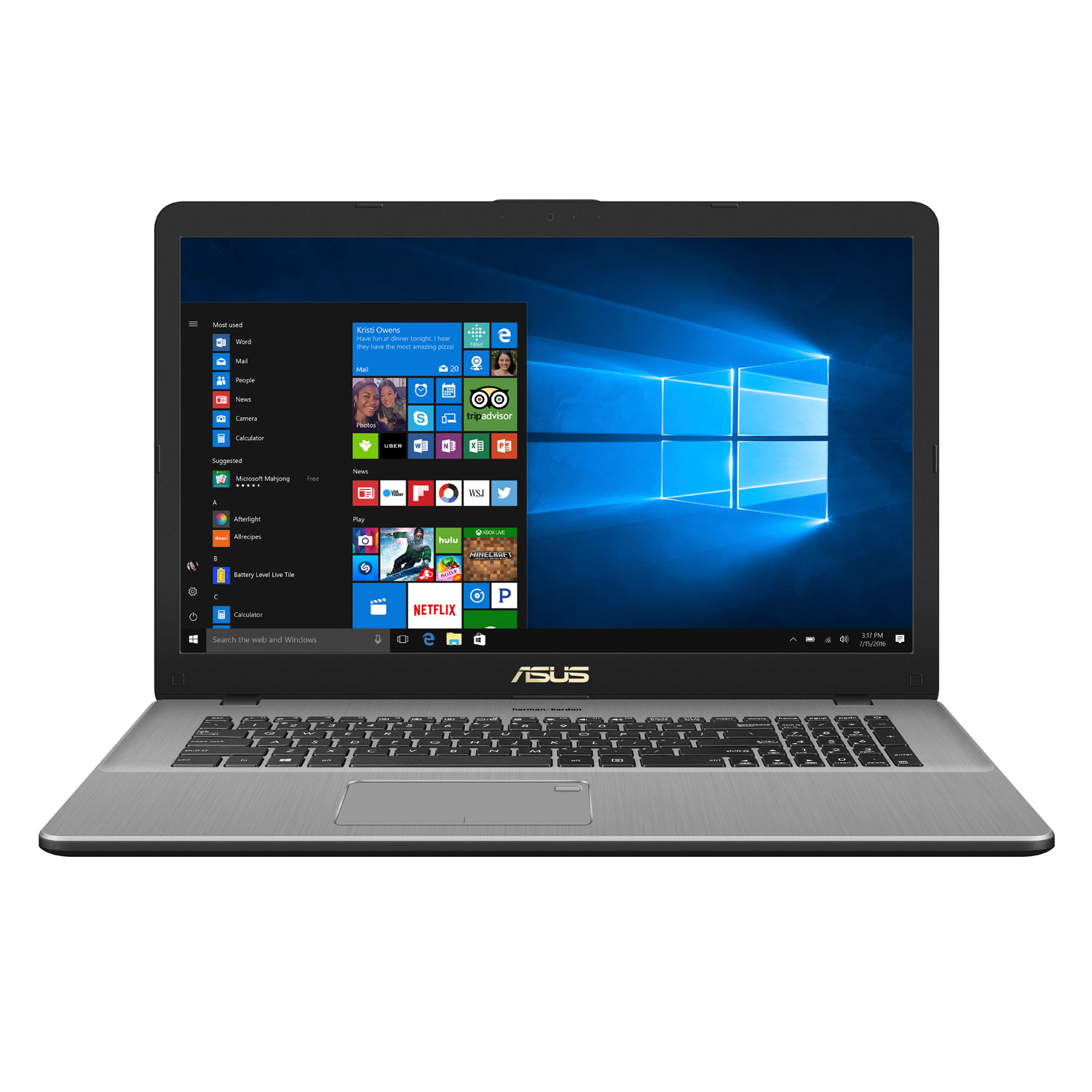 "PC portable ASUS VivoBook Pro N705UN-GC064T Intel Core i5-8250U 8 Go SSD 128 Go + HDD 1 To 17.3"" LED Full HD NVIDIA GeForce MX150 Wi-Fi AC/Bluetooth Webcam Windows 10 Famille 64 bits (Garantie constructeur 2 ans)"