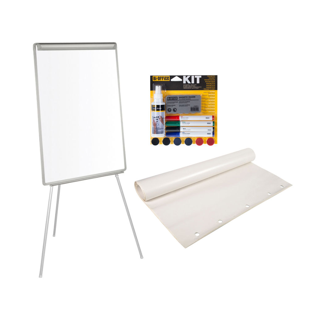 Super Bi-Office Chevalet de conférence laqué 70 x 100 cm + Kit  MM48