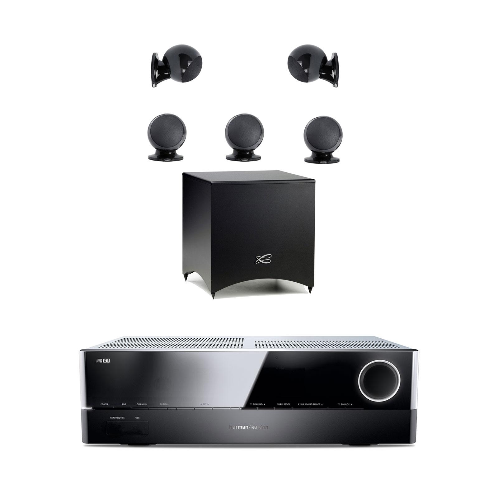 Ensemble home cinéma Harman Kardon AVR 171S + Cabasse Alcyone 2 Pack 5.1 Noir Amplificateur 7.2 - 100 W DLNA Bluetooth Spotify HDMI + Pack d'enceintes 5.1