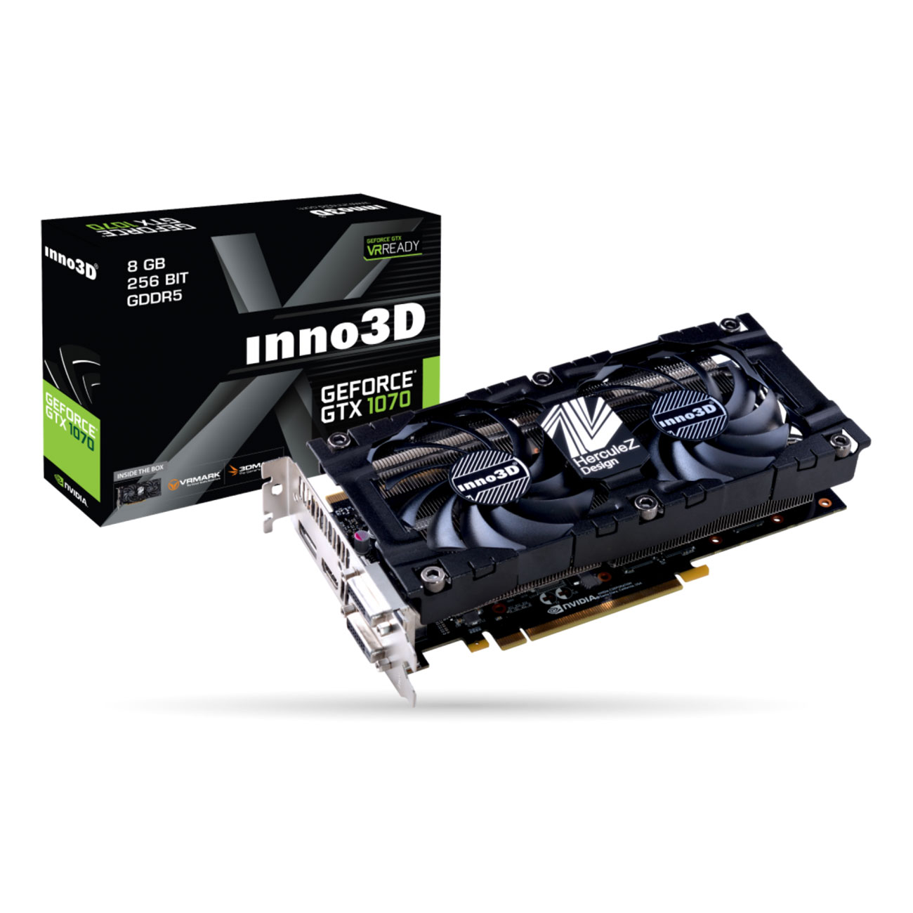 Carte graphique INNO3D GeForce GTX 1070 X2 V4 8192 Mo DVI/HDMI/DisplayPort - PCI Express (NVIDIA GeForce avec CUDA GTX 1070)