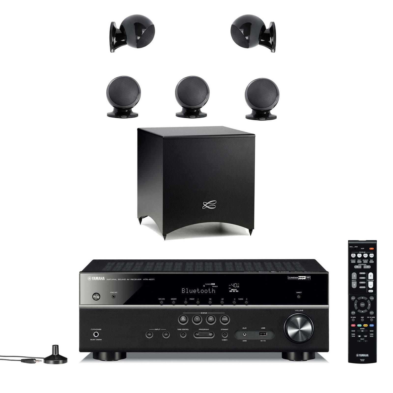 Ensemble home cinéma Yamaha HTR-4071 Noir + Cabasse Alcyone 2 Pack 5.1 Noir Ampli-tuner Home Cinéma 5.1 3D-Ready avec HDMI 2.0, HDCP 2.2, Ultra HD 4K, Wi-Fi, Bluetooth, DLNA, AirPlay et MusicCast + Pack d'enceintes 5.1