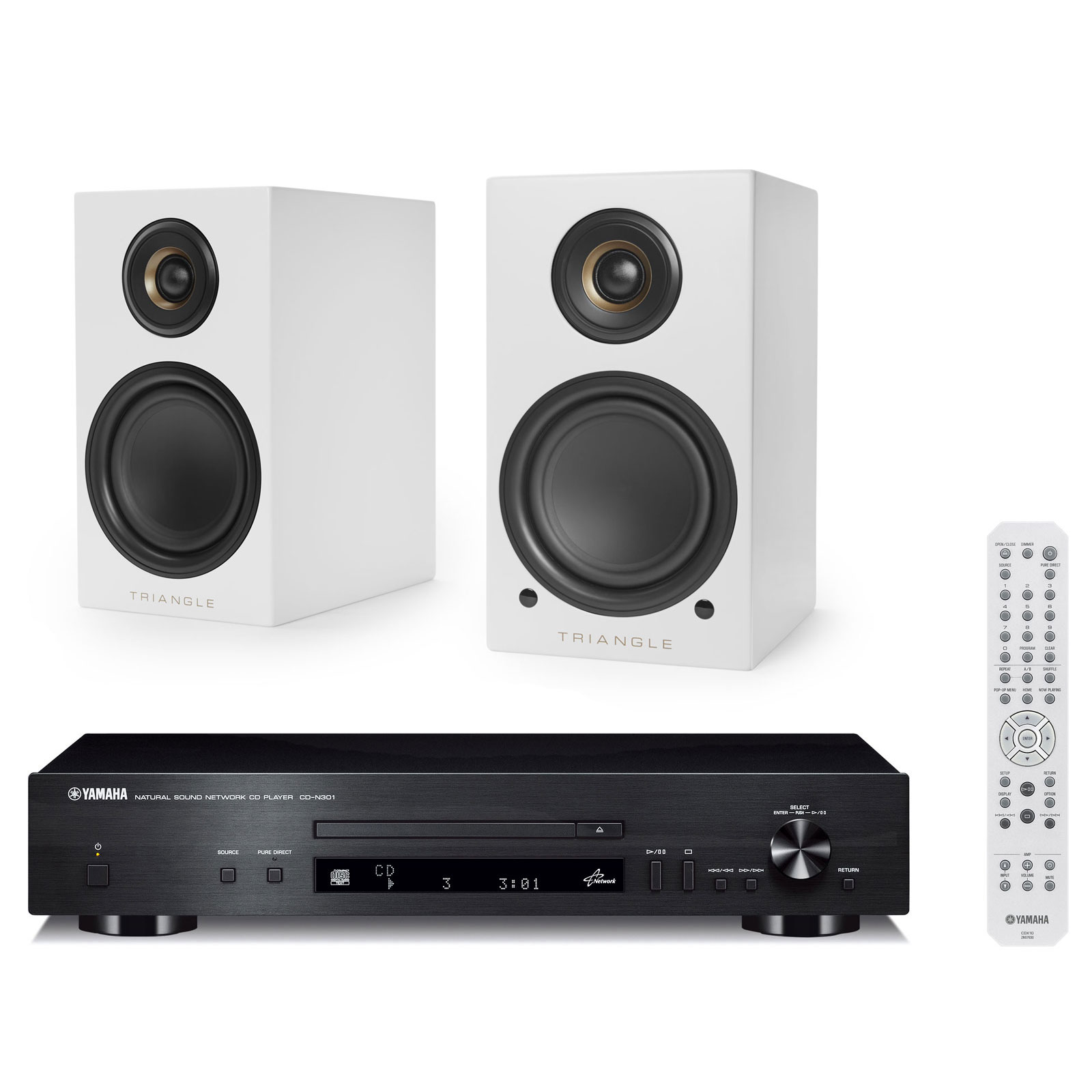 Ensemble Hifi Yamaha CD-N301 Noir + Triangle Elara LN01A Blanc mat Platine  CD MP3 zoom 65dbb46bd04