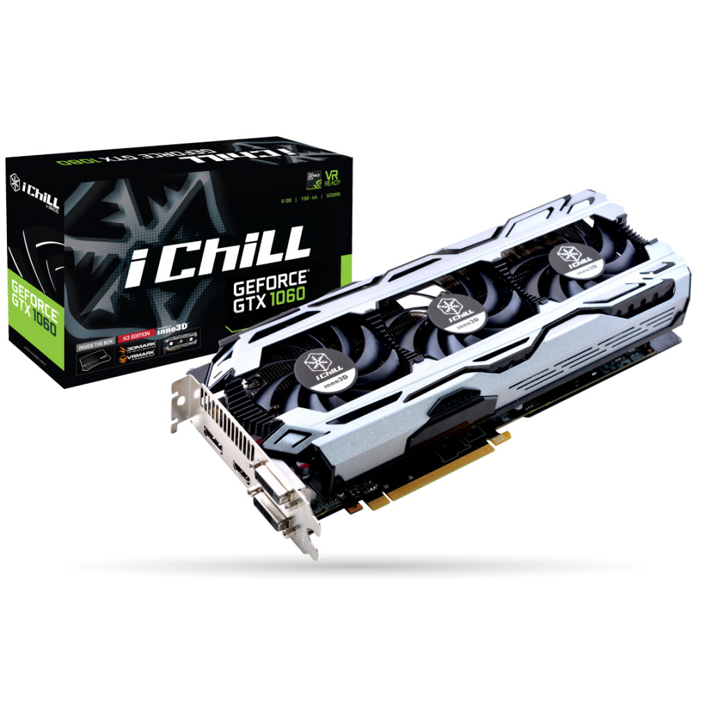 Carte graphique INNO3D iChiLL GeForce GTX 1060 X3 V2 6144 Mo Dual-DVI/HDMI/DisplayPort - PCI Express (NVIDIA GeForce avec CUDA GTX 1060)