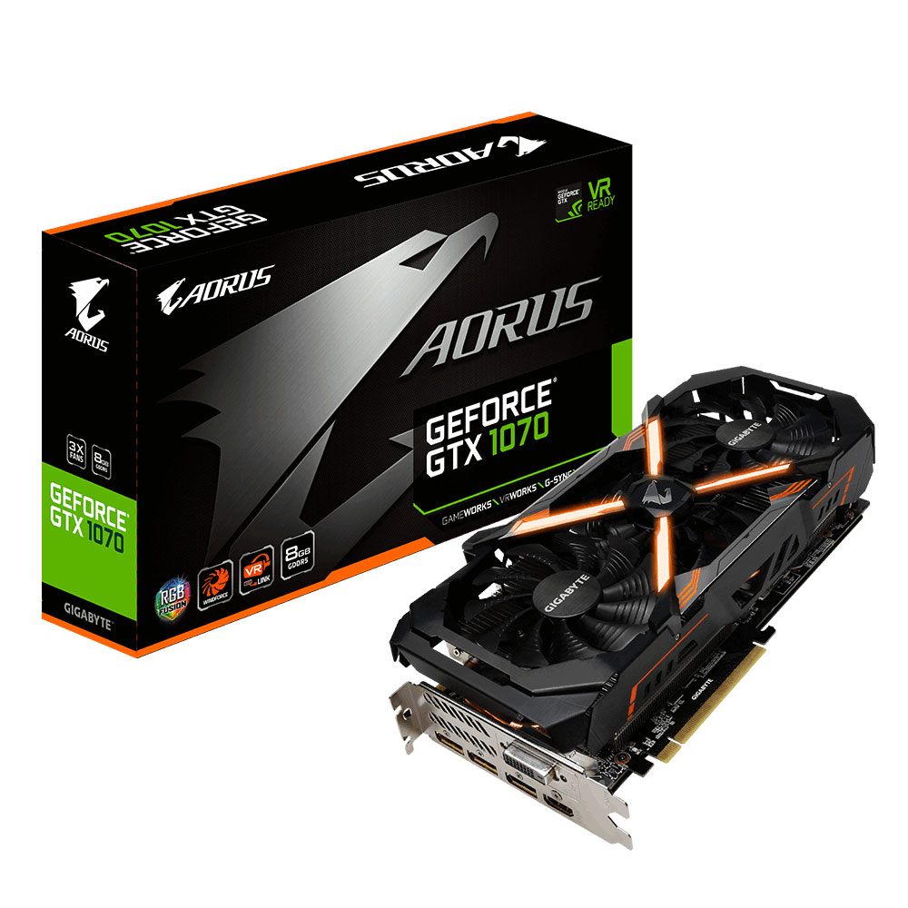 Carte graphique Gigabyte AORUS GeForce GTX 1070 8G 8192 Mo DVI/HDMI/Tri DisplayPort - PCI Express (NVIDIA GeForce avec CUDA GTX 1070)