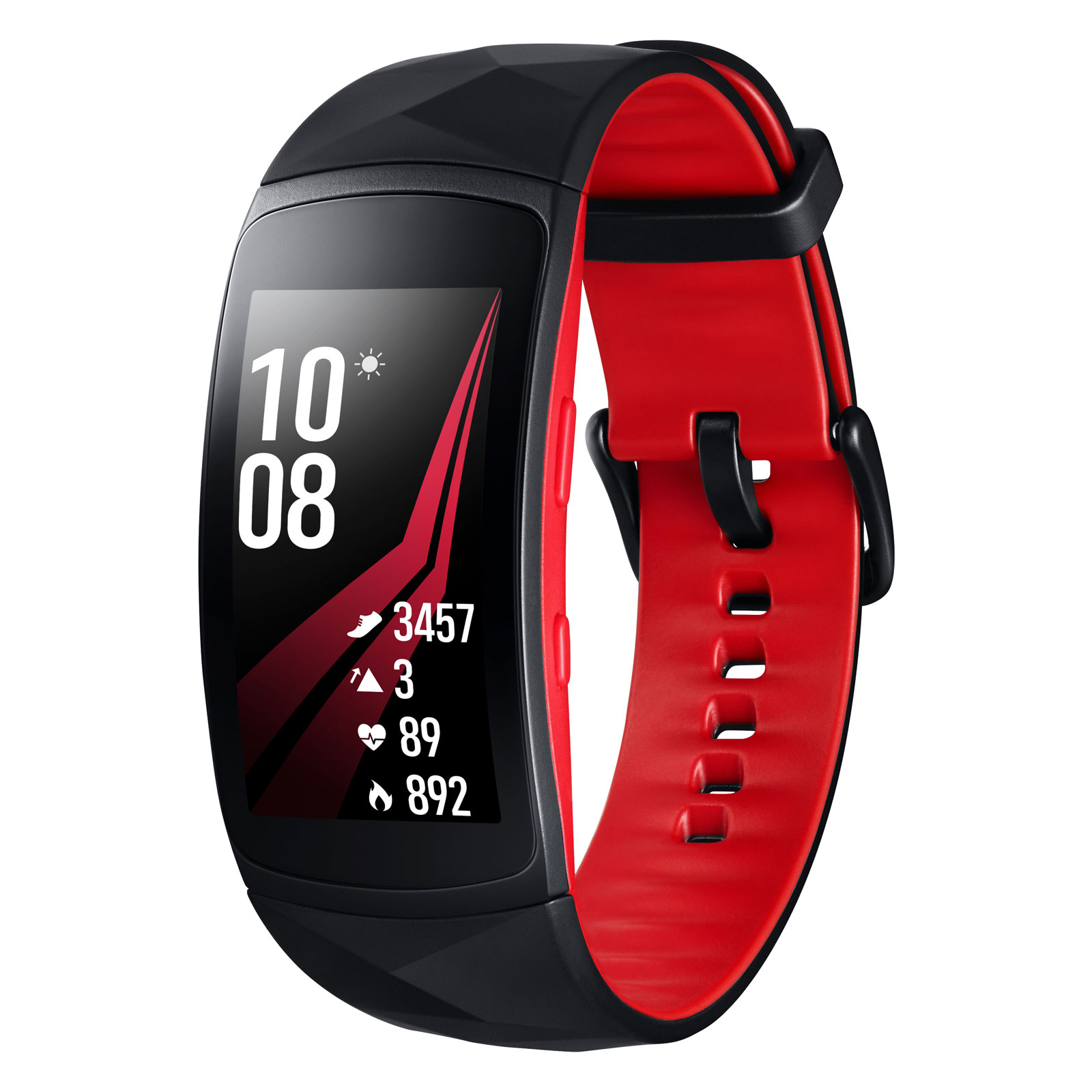 Bracelet connecté Samsung Gear Fit2 Pro L Noir/Rouge Coach électronique connecté sans fil étanche pour smartphone iOS / Android