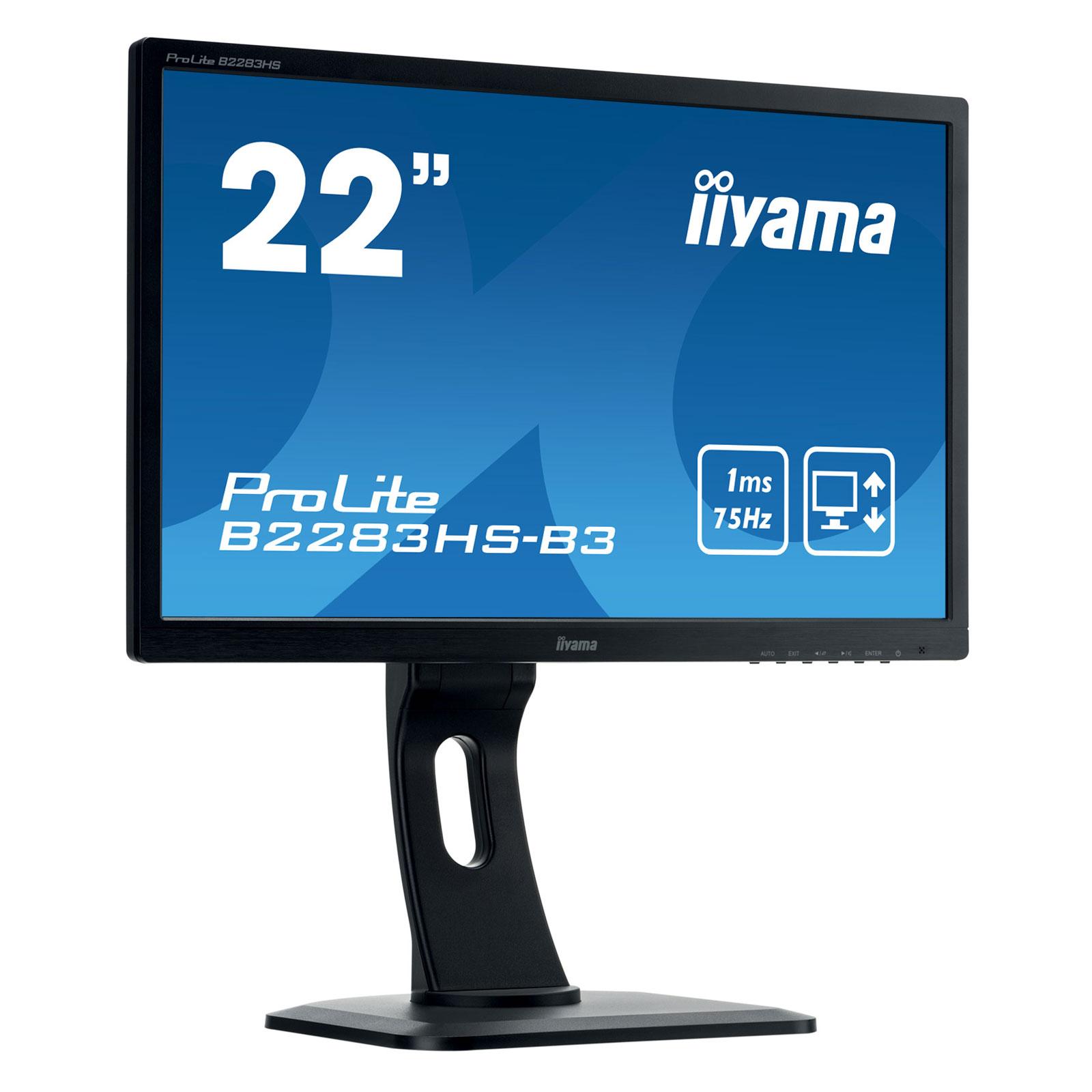 """Ecran PC iiyama 21.5"""" LED - ProLite B2283HS-B3 1920 x 1080 pixels - 1 ms - Format large 16/9 - HDMI - Pivot - Noir"""
