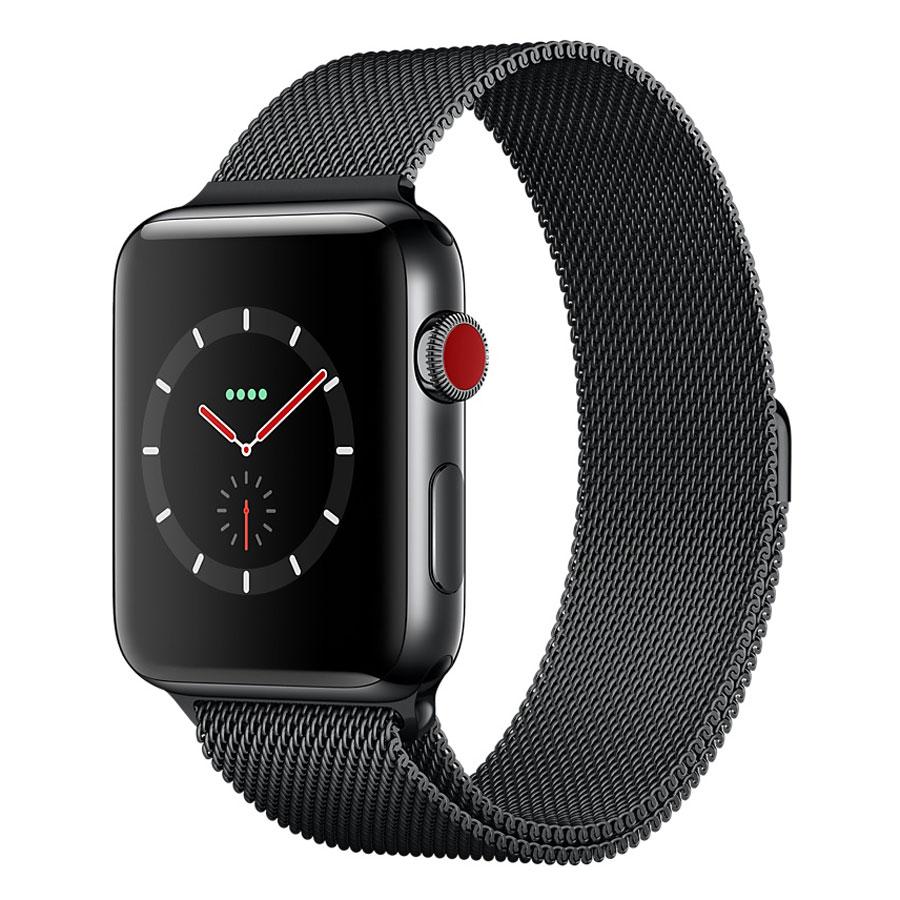 apple watch series 3 gps cellular acier noir milanais noir sid ral 42 mm montre connect e. Black Bedroom Furniture Sets. Home Design Ideas