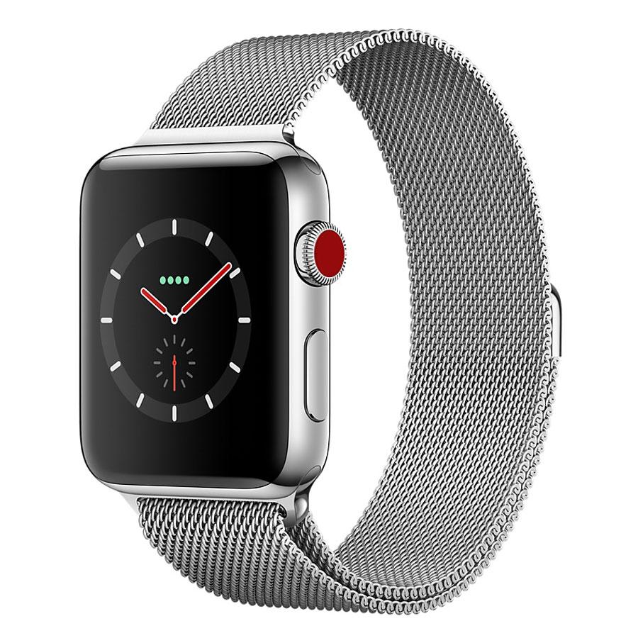 Montre connectée Apple Watch Series 3 GPS + Cellular Acier Milanais 38 mm Montre connectée - Acier inoxydable - Etanche 50 m - GPS/GLONASS - Cardiofréquencemètre - Ecran Retina OLED 340 x 272 pixels - Wi-Fi/Bluetooth 4.2 - watchOS 4 - Bracelet Milanais 38 mm