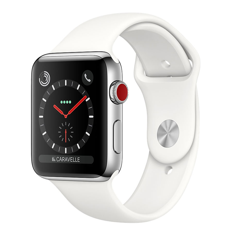 Montre connectée Apple Watch Series 3 GPS + Cellular Acier Sport Coton 38 mm Montre connectée - Acier inoxydable - Etanche 50 m - GPS/GLONASS - Cardiofréquencemètre - Ecran Retina OLED 340 x 272 pixels - Wi-Fi/Bluetooth 4.2 - watchOS 4 - Bracelet Sport 38 mm