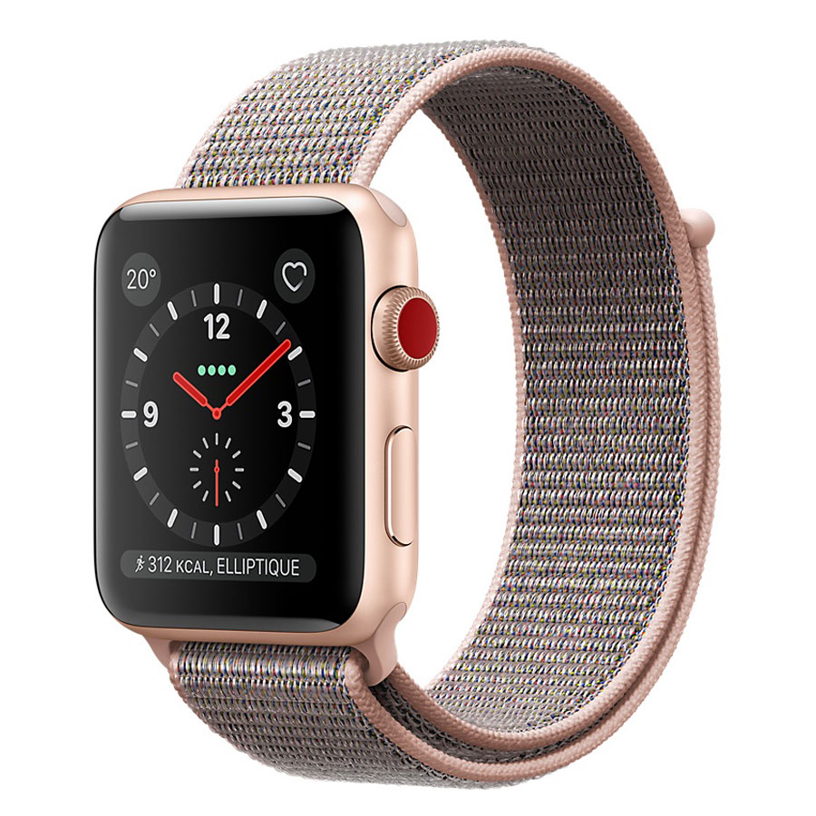 Montre connectée Apple Watch Series 3 GPS + Cellular Aluminium Or Sport Rose 42 mm Montre connectée - Aluminium - Etanche 50 m - GPS/GLONASS - Cardiofréquencemètre - Ecran Retina OLED 390 x 312 pixels - Wi-Fi/Bluetooth 4.2 - watchOS 4 - Bracelet Boucle Sport 42 mm