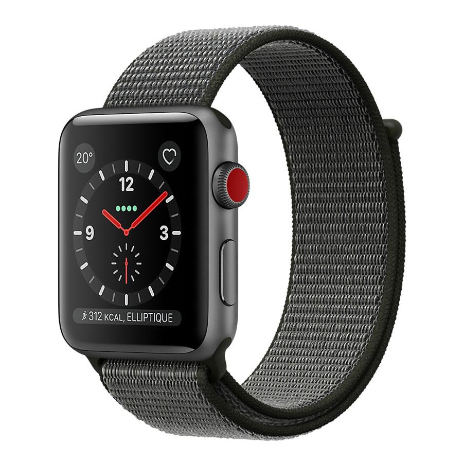 Montre connectée Apple Watch Series 3 GPS + Cellular Aluminium Gris Sport Olive 38 mm Montre connectée - Aluminium - Etanche 50 m - GPS/GLONASS - Cardiofréquencemètre - Ecran Retina OLED 340 x 272 pixels - Wi-Fi/Bluetooth 4.2 - watchOS 4 - Bracelet Boucle Sport 38 mm