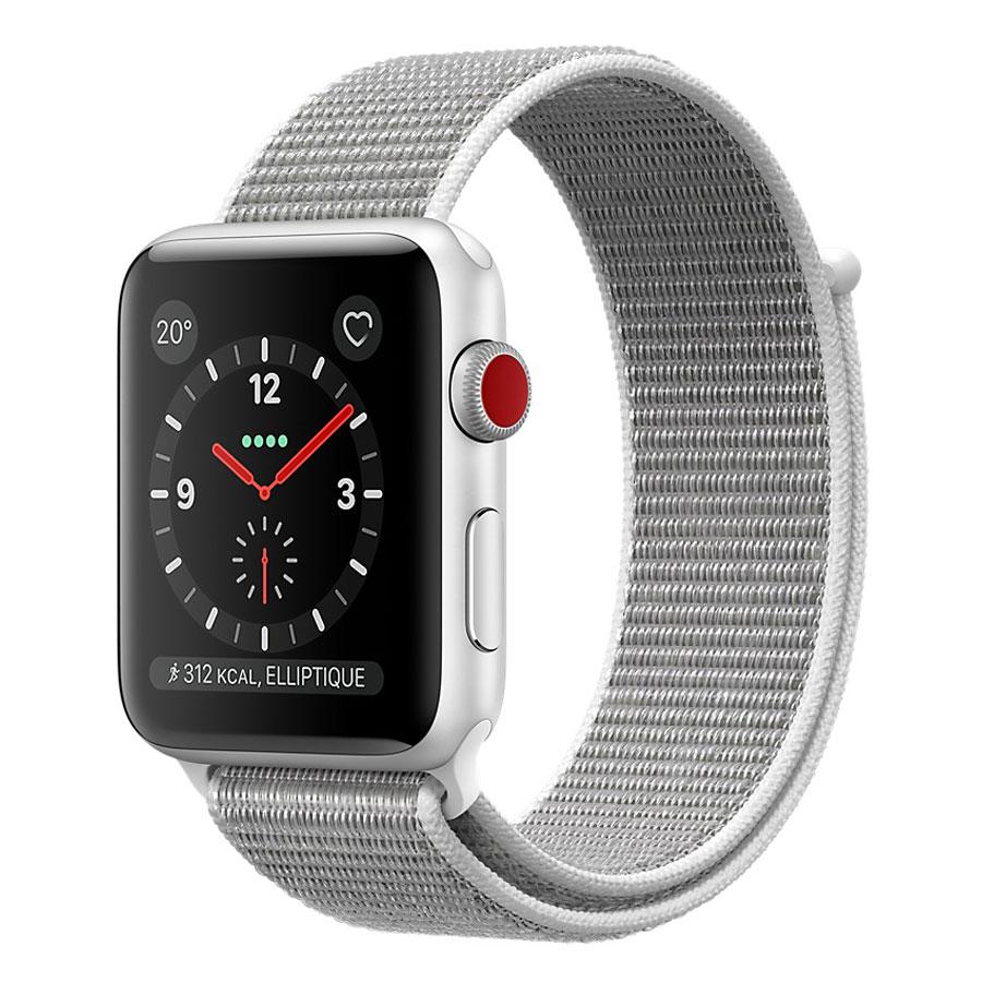 Montre connectée Apple Watch Series 3 GPS + Cellular Aluminium Argent Sport Coquillage 42 mm Montre connectée - Aluminium - Etanche 50 m - GPS/GLONASS - Cardiofréquencemètre - Ecran Retina OLED 390 x 312 pixels - Wi-Fi/Bluetooth 4.2 - watchOS 4 - Bracelet Boucle Sport 42 mm