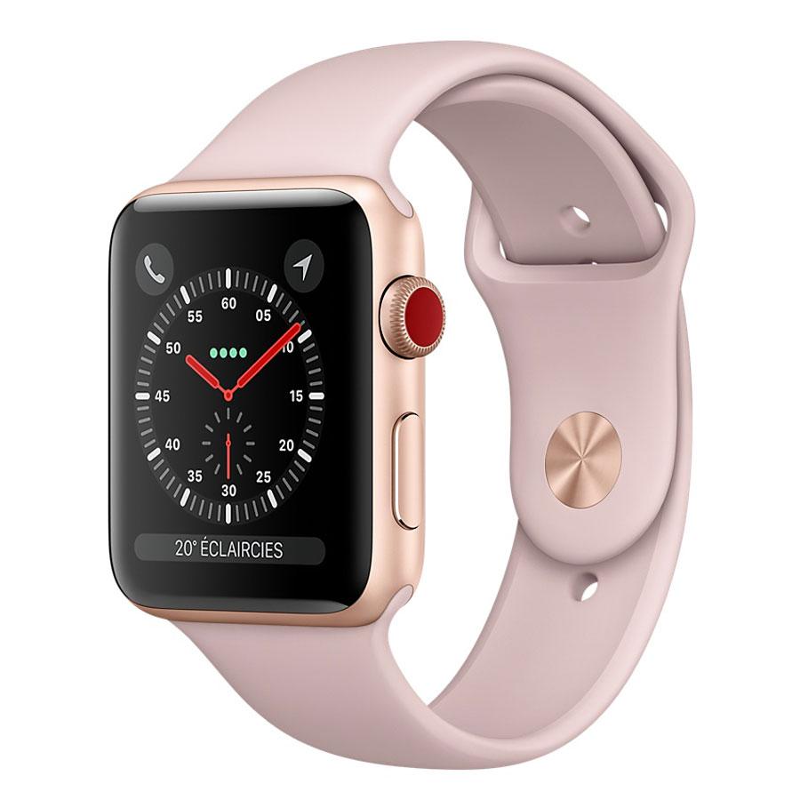 Montre connectée Apple Watch Series 3 GPS + Cellular Aluminium Or Sport Rose 42 mm Montre connectée - Aluminium - Etanche 50 m - GPS/GLONASS - Cardiofréquencemètre - Ecran Retina OLED 390 x 312 pixels - Wi-Fi/Bluetooth 4.2 - watchOS 4 - Bracelet Sport 42 mm